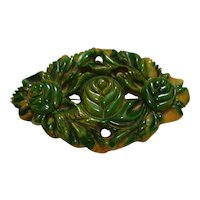 Carved Pierced Marbled Green & Gold Bakelite Pin