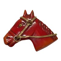 Over-Dyed Carved Bakelite Horse Head Pin