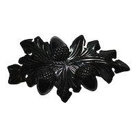 Detailed Carved Jet Black Bakelite Acorn Pin