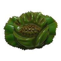 Carved Green Bakelite Flower Pin