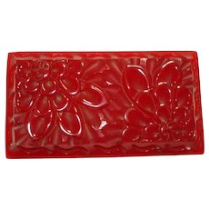 Carved Pierced Translucent Cherry Red Bakelite Chrysanthemum Pin