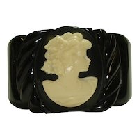 Wide Carved Black Bakelite Celluloid Cameo Hinged Bracelet