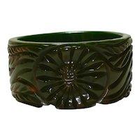 Wide Carved Marbled Green Gold Bakelite Bangle Bracelet