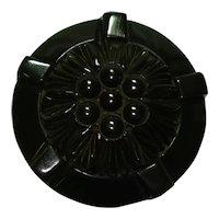 Carved Translucent Deep Green Bakelite Circle Pin
