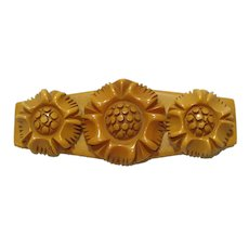 1930's Deeply Carved Butterscotch Bakelite Floral Pin