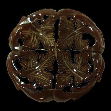 Carved & Pierced Translucent Brown Bakelite Leaf Pin