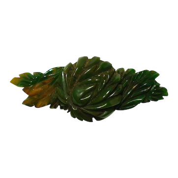 Multi Dimensional Carved Marbled Green Gold Bakelite Flower Pin