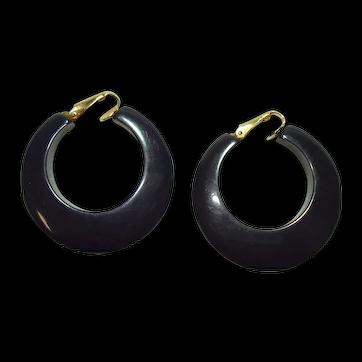 Pr. of Vintage Navy Blue Bakelite Hoop Earrings