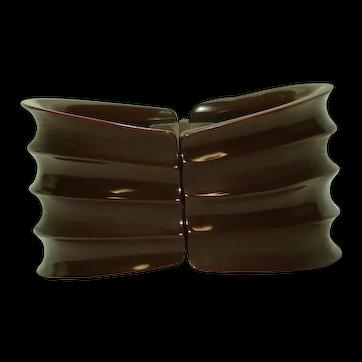 Carved Glossy Matte Chocolate Brown Bakelite Hinged Bracelet