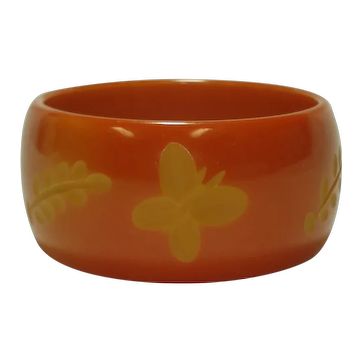 Wide Carved Butterflies & Branches Over-Dyed Bakelite Bangle Bracelet