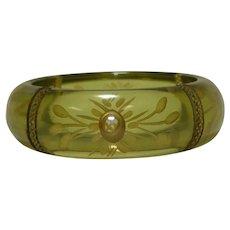 Reverse Carved Pale Green Prystal Bakelite Bangle Bracelet
