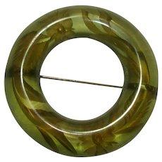 Vintage Reverse Carved Green Prystal Bakelite Circle Pin