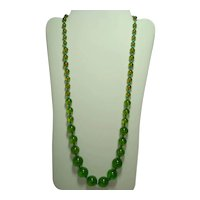 28'' Transparent Green Bakelite & Tuquoise Glass Bead Necklace