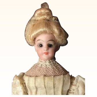Simon & Halbig (S&H) Original, bisque head Dollhouse Doll Glass Eyes
