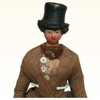 Rare Male Papier Mache  Wooden Jointed Body  Dollhouse