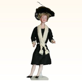 Original German bisque dollhouse doll with bent arms