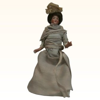 German bisque dollhouse lady with bent elbows