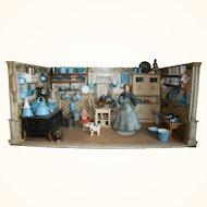 Robin Egg Blue Enamel Kitchen Roombox -rare pieces