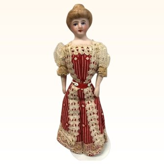 All original dollhouse lady, pretty dress, upswept hair