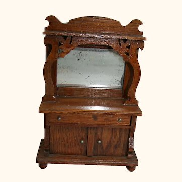 Wooden buffet with mirror for doll house