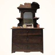 Eastlake dresser from 1880s for doll display