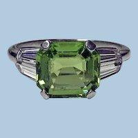 Art Deco Platinum Peridot Diamond Ring, C.1920