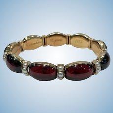 John Brogden Gold Carbuncle and Pearl Bracelet, C.1855