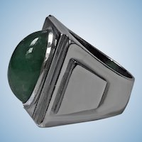 Bold striking Art Deco architectural design Ring, French import mark C.1920