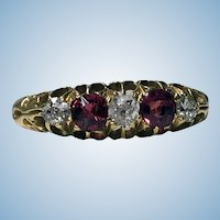18K Diamond Ruby Ring, C. 1900.