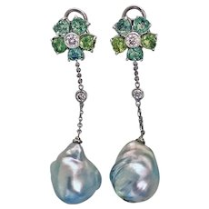 Pair of 18K, Diamond, & Baroque Pearl drop Earrings, 20th century