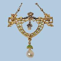 French Art Nouveau  Gautrait 18K Enamel Diamond and Pearl Necklace, C.1900