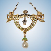 French Art Nouveau  Gautrait 18K Enamel Diamond and Pearl Necklace, C.1900