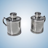 Unusual Miniature Sterling Silver Tankard Casters Pepper Salt, London 1885