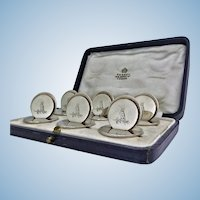 Asprey & Co Sterling Silver Place Card Menu Holders, London 1931