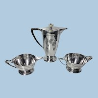 American Arts and Crafts Sterling hammered Silver Coffee Service, C.1905, Wm. Durgin
