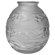 René Lalique 1930's René Lalique Signed Vase, Soudan pattern
