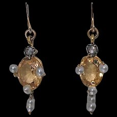 Pair of Antique imperial Topaz, Pearl, Diamond and 15K (tested) Earrings, English C.1890