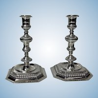 Carrington & Co Heavy Solid Sterling Candlesticks, London 1963, 26.15 oz