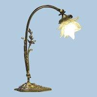 French Art Nouveau bronze table desk Lamp, C.1920.