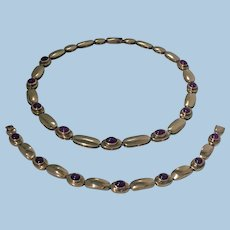18K rose gold cabochon Ruby Necklace and Bracelet.