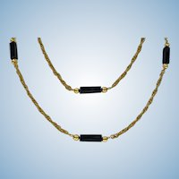 18K Onyx Necklace Long Chain, 20th century.