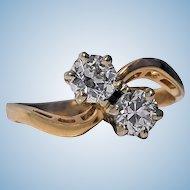 Diamond 14K twist design crossover Ring, C.1920