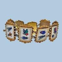 Very Fine 19th century Gold Pietra Dura Bracelet, Italy C.1875