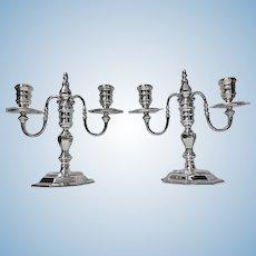 Garrard & Co English Silver Candelabra Candlesticks, London 1968