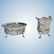 Irish style Silver cream jug and a matching sugar bowl, Birmingham 1913-14, Williams Ltd