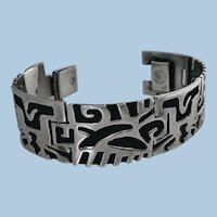 1950's Mexican Sterling Bracelet depicting pre Columbian cut out design.