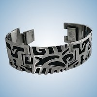 1950's Mexican Sterling Bracelet depicting pre Columbian cut out design.