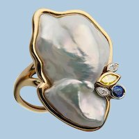 Mother of  Pearl, Diamond, Sapphire 18K  Ring