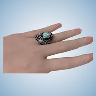 Diamond Opal Onyx Silver and Gold Ring, 20th century