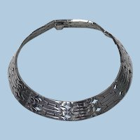 Vintage 1970's wide and heavy hand made Mexican Sterling Necklace